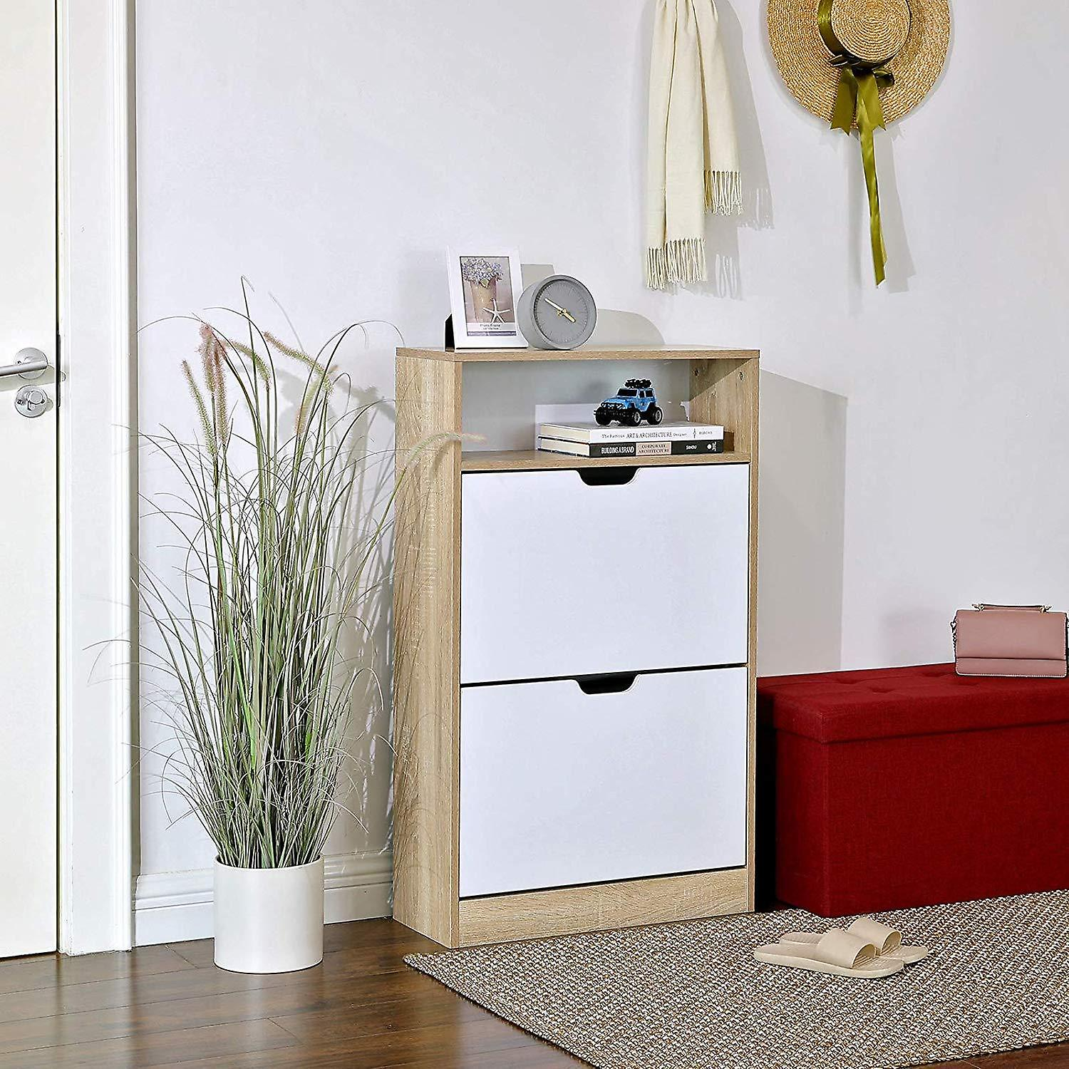 Shoe cabinet with 2 flaps and open compartment