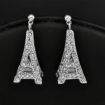 18K White Gold Plated Stellux Austrian Crystals Eiffel Tower Dangle Earrings, 2.7cm
