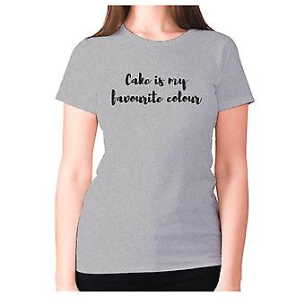 Womens funny foodie t-shirt slogan tee ladies eating - Cake is my favourite colour