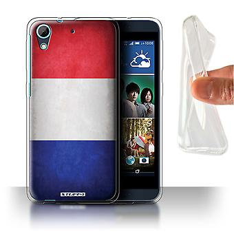 STUFF4 Gel/TPU Case/Cover for HTC Desire 626G+/France/French/Flags