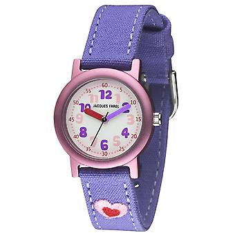 JACQUES FAREL Öko Kinder-Armbanduhr Analog Quarz Mädchen ORG 9999 Herz