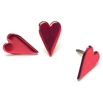 Painted Metal Paper Fasteners 50 Pkg Metallic Red  Hearts Ci90331