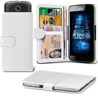 ONX3 BLU Studio 5.0 C Leather Universal Spring Clamp Wallet Case With Card Slot Holder and Banknotes Pocket-White