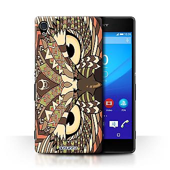 STUFF4 Case/Cover for Sony Xperia Z4v/E6508/Owl-Sepia/Aztec Animal