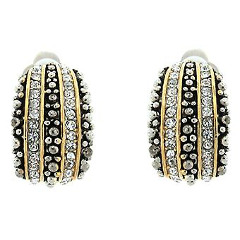 Clip On Earrings Store Gold  and  Marcasite and Crystal Semi Hoop Clip On Earrings
