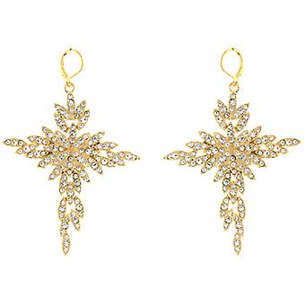 Kenneth Jay Lane Gold Plated and Crystal Starburst Drop Earrings