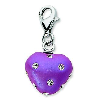 Sterling Silver Click-on Purple Ferido and Crystal Heart Charm - Measures 23x11mm