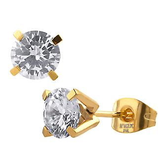 Earrings cubic zirconia, 316L stainless steel, PVD gold plug