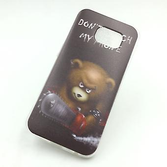Mobile case for Samsung Galaxy S6 edge cover case protective bag motif slim silicone TPU lettering bear with chainsaw