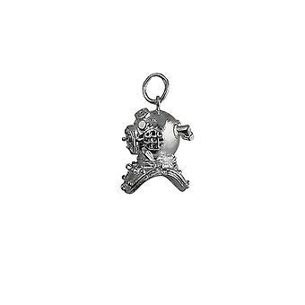 Argento 17x11mm Deep Sea Divers casco ciondolo o fascino
