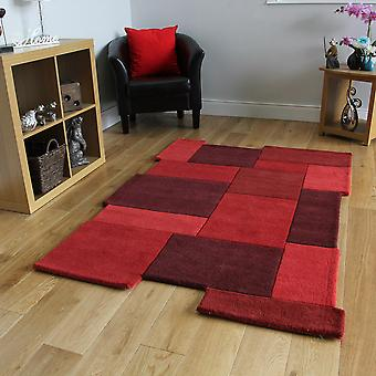 Red Wool Area Rug - Abstract