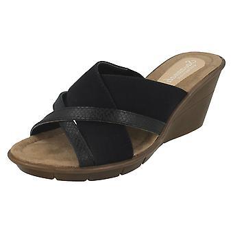 Ladies Savannah High Wedge X Vamp Mule Sandals F10744