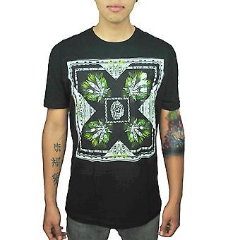 Bob Marley Iron Lion Herb Graphics Tribal Patterns Men's Black T-shirt