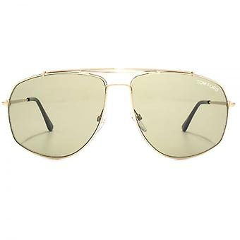 Tom Ford Georges Pilot Sunglasses In Shiny Rose Gold Green