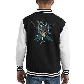 Ragnarok Thor Skull Cross Swords Kid's Varsity Jacket