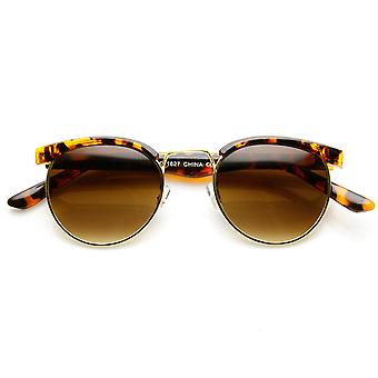 Small Metal Classic Half Frame Horn Rimmed Round Sunglasses