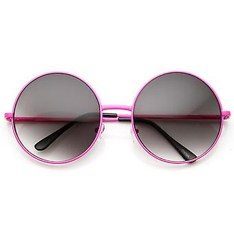 Womens Fashion Neon Round Oversized Metal Sunglasses