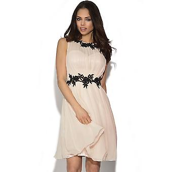 Little Mistress Floral Applique Chiffon-Kleid