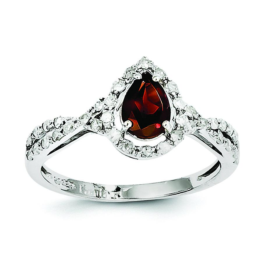 Sterling argent Diamond and Garnet Ring - Ring Taille  6 to 8
