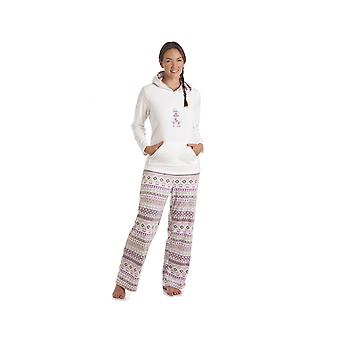 Camille Cream Teddy Bear Motif Hooded Pyjama Set