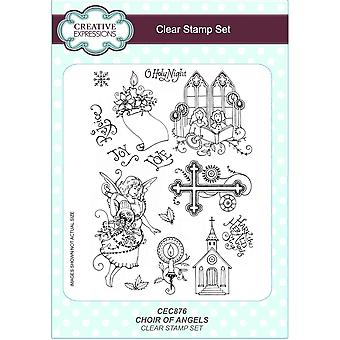 Creative Expressions Choir Of Angels A5 Clear Stamp 14 Set**^