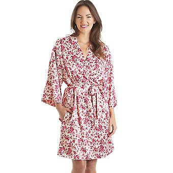 Camille Luxury Kimono Style Pink Floral Print Chemise And Wrap Set