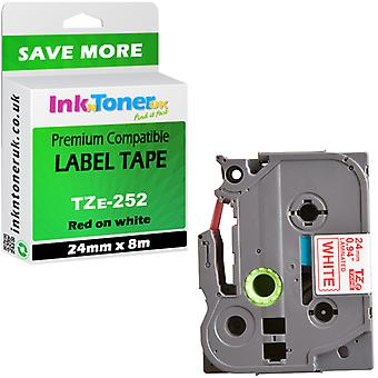 Premium-kompatibel für Brother TZe-252 rot auf weiß 24 mm x 8 m laminiert P-Touch Etikettenband (TZe252)