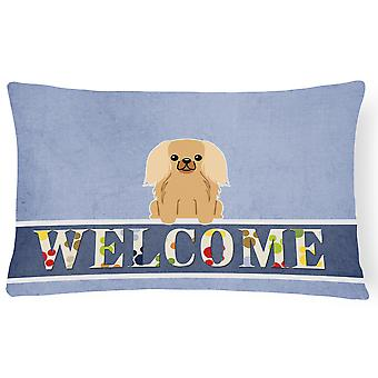 Pekingnese Fawn Sable Welcome Canvas Fabric Decorative Pillow