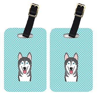 Pair of Checkerboard Blue Alaskan Malamute Luggage Tags