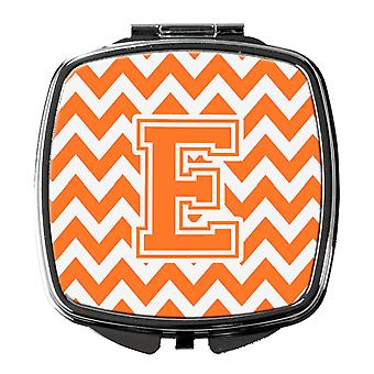 Letter E Chevron Orange and White Compact Mirror