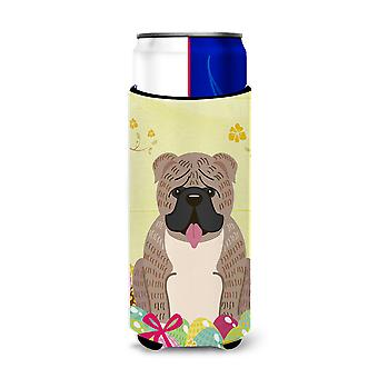 Easter Eggs English Bulldog Grey Brindle  Michelob Ultra Hugger for slim cans