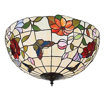 Butterfly Large Tiffany Style Two Light Flush Ceiling Fixture - Interiors 1900 70715