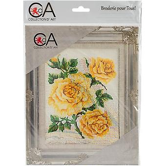 Collection D'Art Stamped Needlepoint Kit 20X25cm-Yellow Roses CD3151K