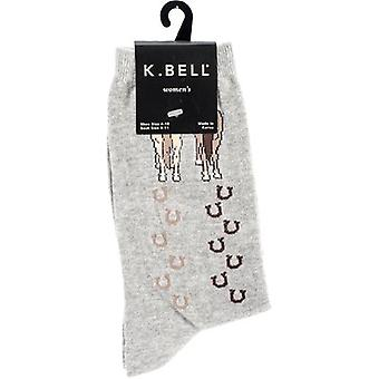 Novelty Crew Socks-Horses Walking - Gray NOVSOCKS-5H64G