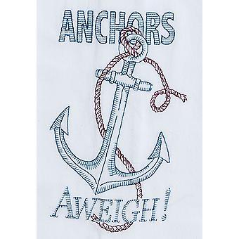 Anchors Aweigh bestickte Mehl Sack Küche Geschirrtuch