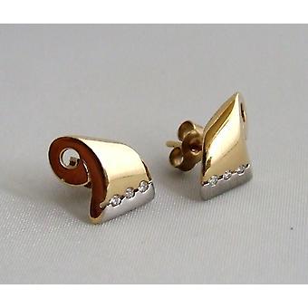 Christian bicolor oorbellen met diamanten