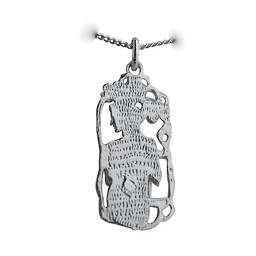 Silver 33x17mm Libra Zodiac Pendant with a curb Chain 18 inches