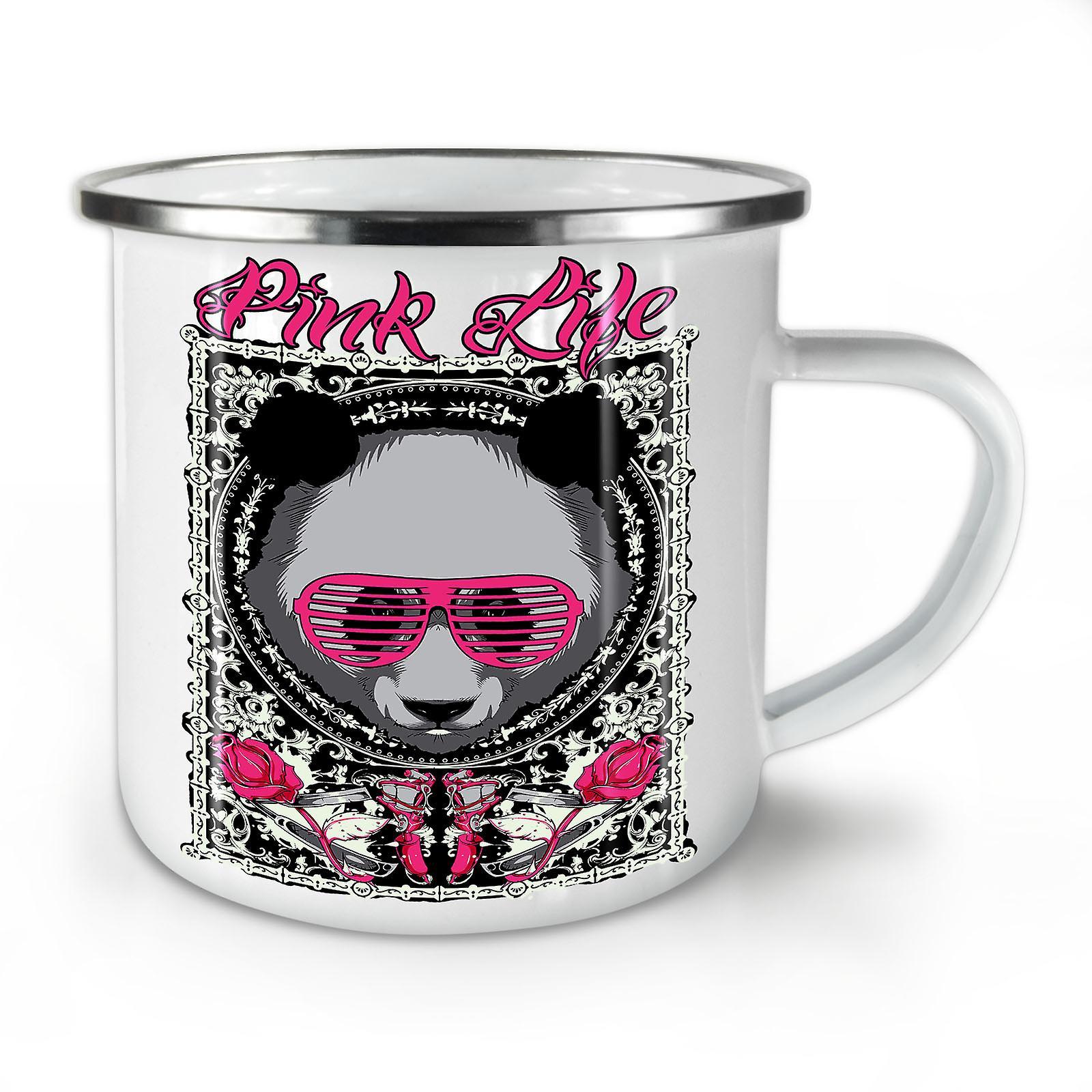 La OzWellcoda Vie Nouveau Mug10 Panda Animal Whitetea Café Émail Rose 0XOk8nwP