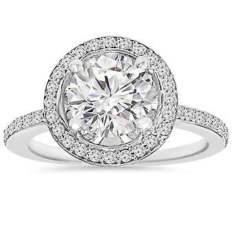2 1 / 8ct Halo ronde geslepen diamant verlovingsring 14K witgoud duidelijkheid verbeterd