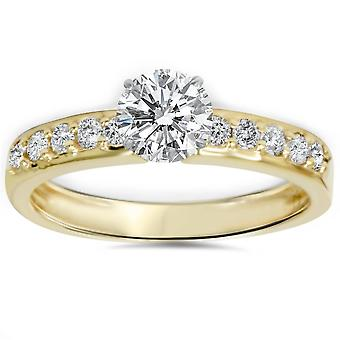 1ct gul guld Diamond Engagement Ring 14K