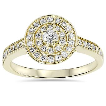 1/2ct Diamond Double Halo Engagement Ring 10K Yellow Gold