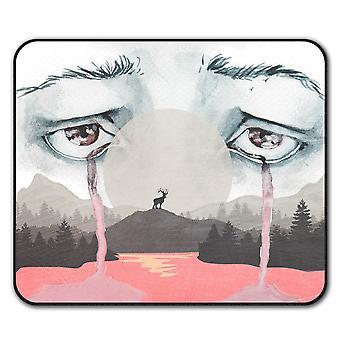 Cry Scary Creepy  Non-Slip Mouse Mat Pad 24cm x 20cm | Wellcoda