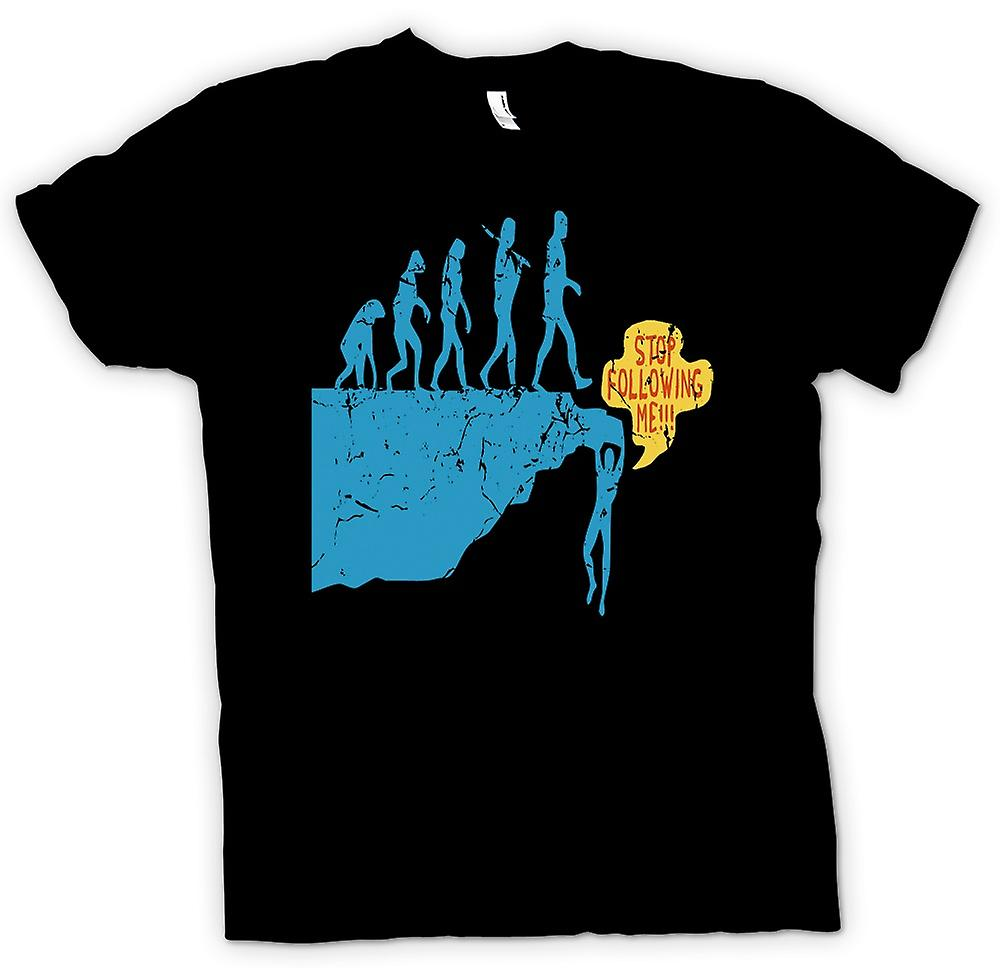 Mens T-shirt - Mans Evolution On Cliff - Stop Following Me
