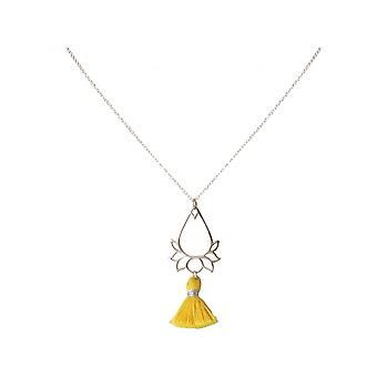 Ladies - - pendant - necklace 925 Silver - Lotus Flower - tassel - gold - YOGA - 45 cm