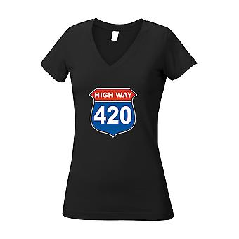 Kvinders juniorer v-hals T Shirt Highway 420