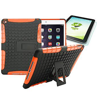 Hybrid udendørs beskyttende sag Orange for iPad-airbag 2 + 0,4 H9 hærdet glas
