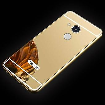 Mirror / Mirror aluminium bumper 2 pieces with cover gold for Huawei honor 6A bag cover