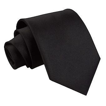 Black Plain Satin Extra Long Tie