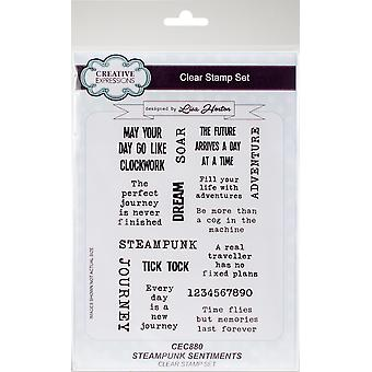 Creative Expressions Clear Stamp Set-Steampunk Sentiments