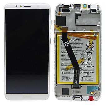 Huawei visar LCD enhet + 2018 Service Pack 02351WLK vit ram för Y6 nya